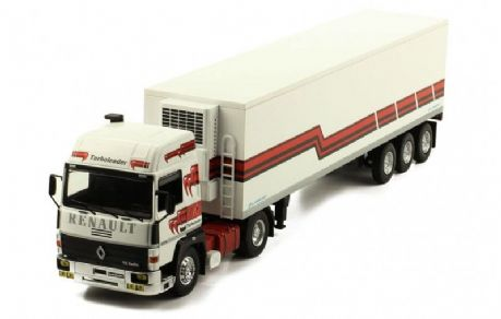 IXO Renault R370 Turbo leader with fridge trailer 1986,​​​​​​​ Scale: 1:43